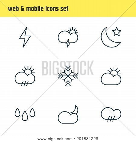 Editable Pack Of Rainy, Drip, Sun And Other Elements.  Vector Illustration Of 9 Sky Icons.