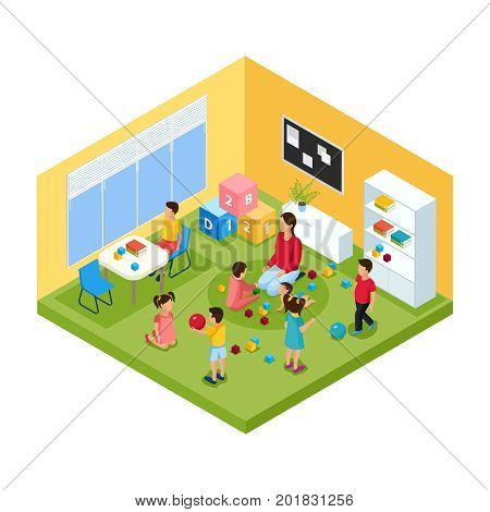 Isometric children in kindergarten concept with nanny and group of playing cheerful kids vector illustration