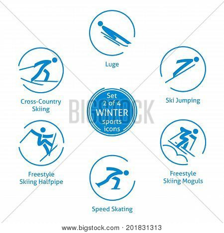 Winter sports icons set 2 of 4 vector pictograms for web print and other projects. 6 olympic species of events
