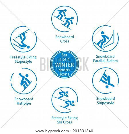 Winter sports icons set 4 of 4 vector pictograms for web print and other projects. 6 olympic species of events