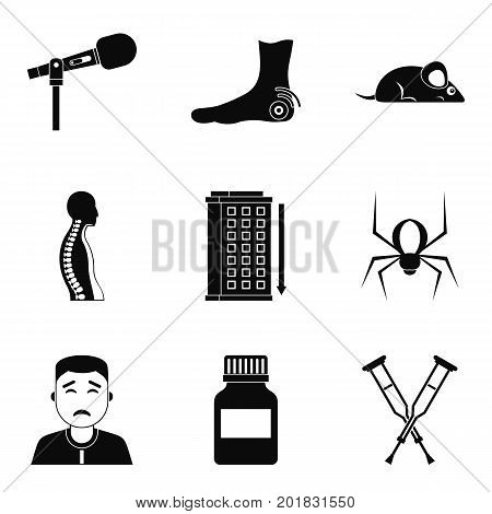 Injury icons set. Simple set of 9 injury vector icons for web isolated on white background