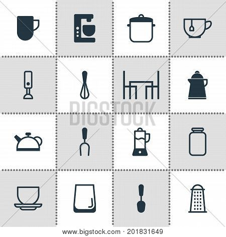 Editable Pack Of Tea Cup, Soup Pan, Fruit Squeezer And Other Elements.  Vector Illustration Of 16 Kitchenware Icons.
