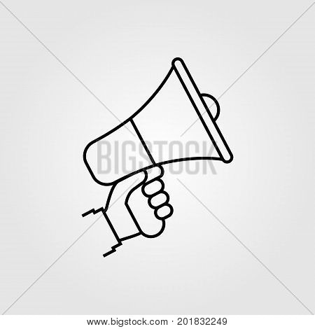Hand holding megaphone. Isolated icon on white background. Modern minimal design with a line. Speaker, loudspeaker silhouette. Vector illustration. Advertising and promotion symbol.