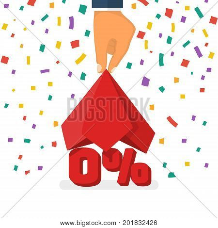 Zero percent concept. Man presents a new offer, an interest-free loan. Vector illustration flat design. Isolated on white background. Red silk fabric in hand.