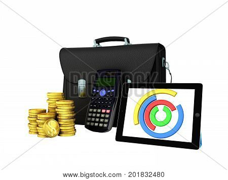 Business Statistics Diagram Tablet Money Briefcase 3D Render On White Background No Shadow