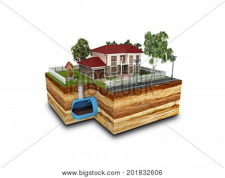 Concept Of Sewerage In A Private House 3D Render On White