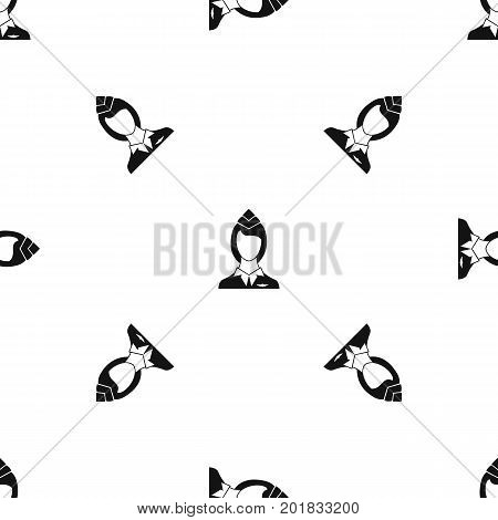 Stewardess pattern repeat seamless in black color for any design. Vector geometric illustration