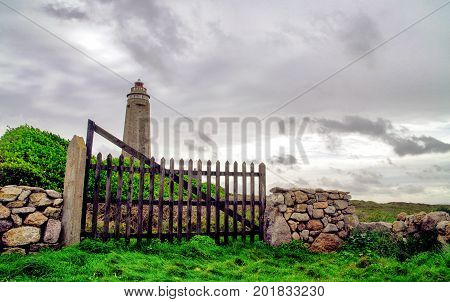 view of Cap Levi Lighthouse. Fermanville-Bourg Normandy France