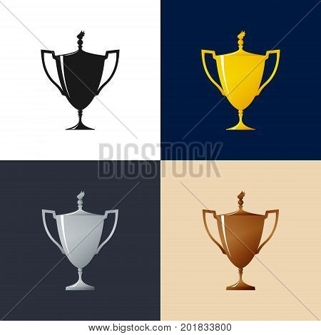 Set of Cups , Gold , Silver , Bronzed and Silhouette Trophy Cup of Winners , Vector Illustration