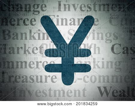 Banking concept: Painted blue Yen icon on Digital Data Paper background with  Tag Cloud