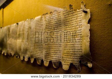 QUMRAN, ISRAEL - JANUARY 28: Dead Sea Scrolls, Qumran Caves Scrolls, manuscripts found near the Dead Sea in the Qumran Caves, Israel on January 28, 2017