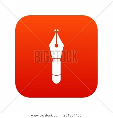 Fountain pen nib icon digital red for any design isolated on white vector illustration