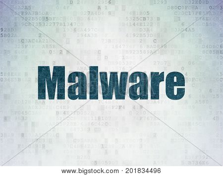 Safety concept: Painted blue word Malware on Digital Data Paper background