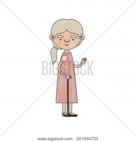color crayon silhouette of full body elderly woman in walking stick with dress and ponytail side hairstyle vector illustration
