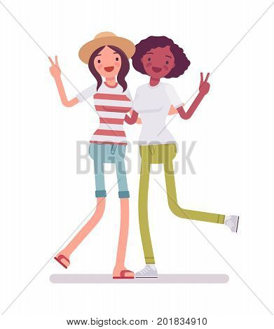 Young women showing v-sign. Family gathering, people with common interests, social activity. Human interaction concept. Vector flat style cartoon illustration, isolated, white background