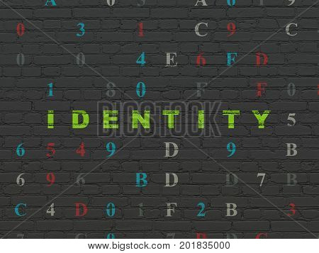 Safety concept: Painted green text Identity on Black Brick wall background with Hexadecimal Code