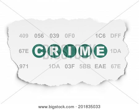 Protection concept: Painted green text Crime on Torn Paper background with  Hexadecimal Code
