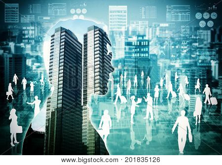 a conceptual image of business corporation with CEO silhouette and virtual worker background