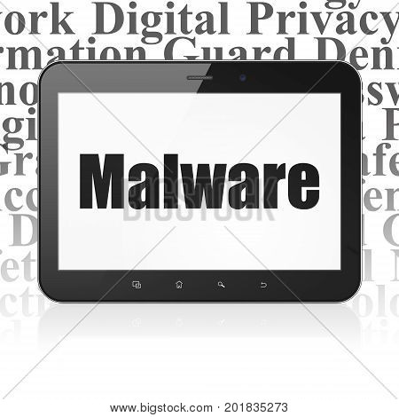 Protection concept: Tablet Computer with  black text Malware on display,  Tag Cloud background, 3D rendering