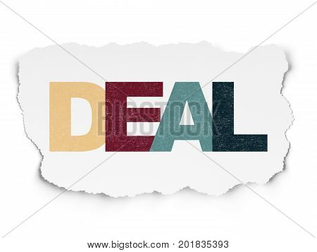 Finance concept: Painted multicolor text Deal on Torn Paper background