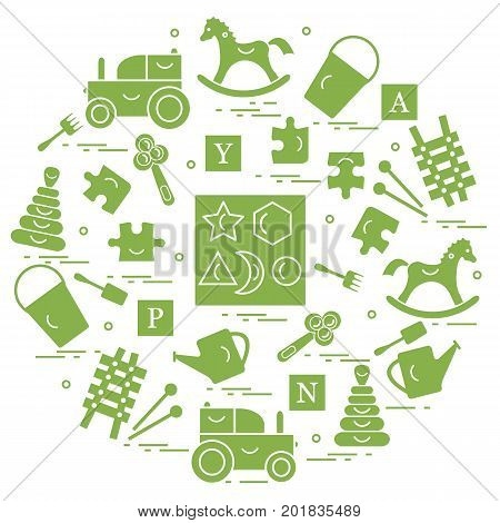 Cute Vector Illustration With Variety Of Children's Toys Arranged In A Circle.  Rocking Horse, Cubes