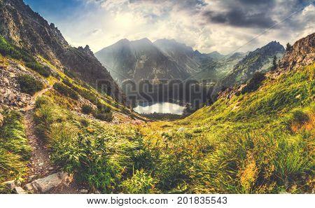 Mountain Panorama Landscape with Mountain Chalet near Poprad Tarn High Tatras Slovakia