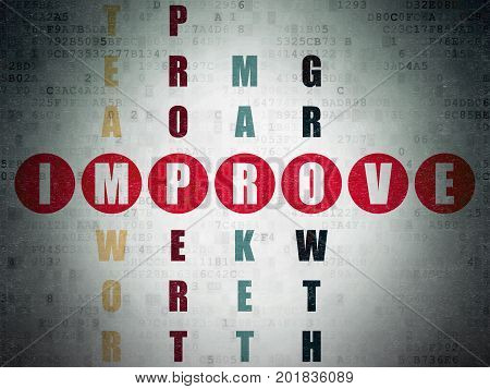 Finance concept: Painted red word Improve in solving Crossword Puzzle on Digital Data Paper background