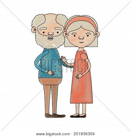 color crayon silhouette of full body couple elderly of bearded grandfather with grandmother with bow lace and straight hair in dress vector illustration