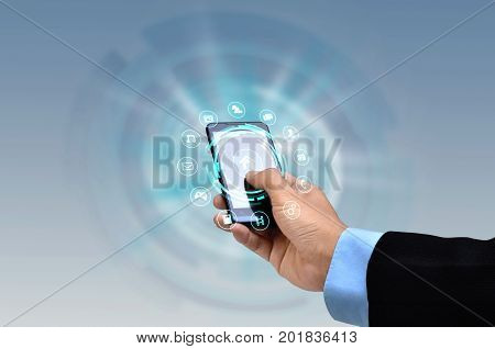 Internet on smartphone concept.A businessman finger touching the internet on a smart phone screen