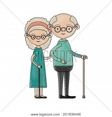 color crayon silhouette of full body couple elderly of grandmother with curly hair in dress and bald grandfather with glasses in walking stick vector illustration