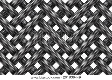 Vector seamless decorative pattern of wicker fabric braided cords.