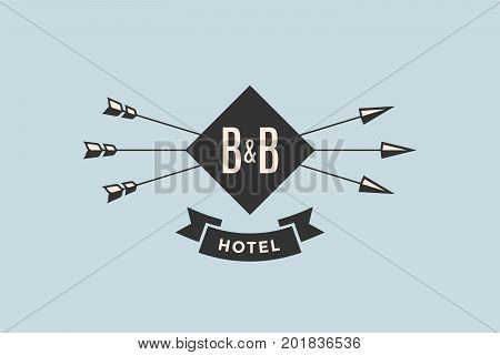 Emblem of Hotel with arrows and text BB, Hotel. Logo template for hostel or hotel in vintage retro style. Logo, signs, labels, identity, badges for business brands. Vector Illustration