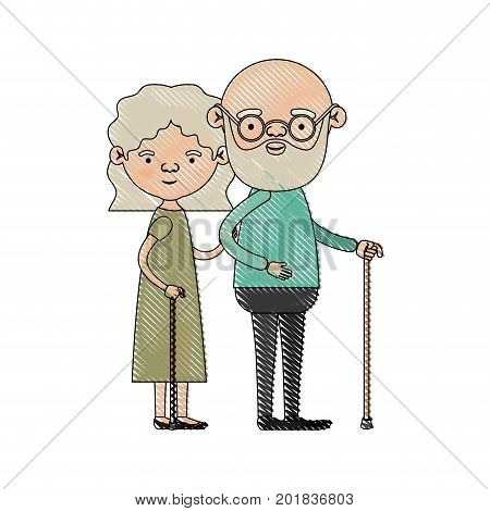 color crayon silhouette of full body couple elderly in walking stick of grandmother with wavy hair in dress and bald bearded grandfather with glasses vector illustration