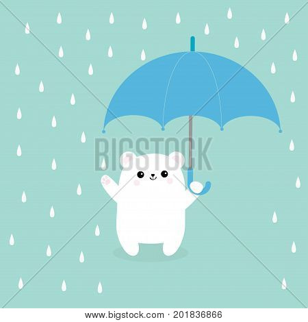 Polar white small little bear cub holding umbrella. Rain drops. Cute cartoon baby character. Arctic animal collection. Blue background. Isolated. Vector illustration