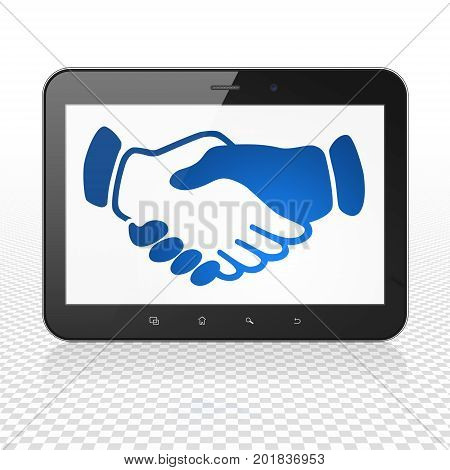 Business concept: Tablet Computer with  blue Handshake icon on display,  Tag Cloud background, 3D rendering