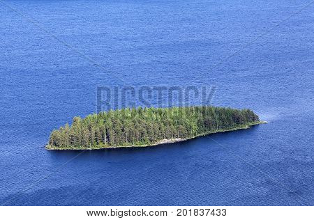 Island, islet covered of trees. Water all around.