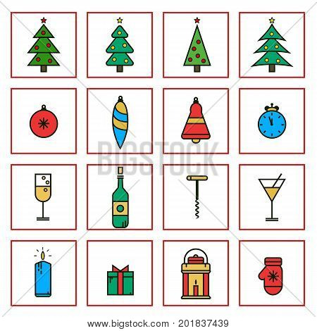 Christmas and New Year flat line icons in minimalistic design. Set of noel flat line icons in trendy style.