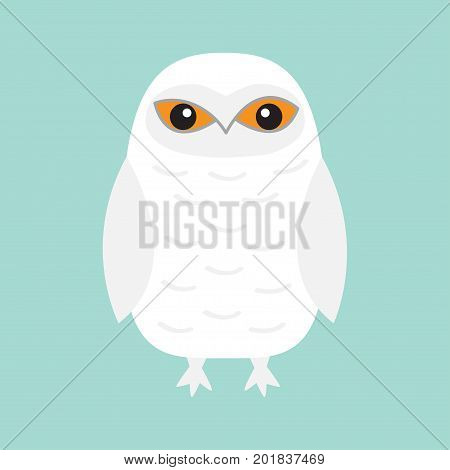White Snowy owl. Sitting bird with wings. Snow barn. Yellow eyes. Arctic Polar animal collection. Baby education. Flat design. Isolated. Blue sky winter background. Vector illustration