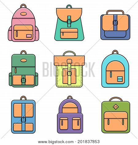 Collection of school, hipster and street backpacks. Set of city bag, travel and sport knapsack icons. Backpack and bag icons in trendy flat line style. Back to school vector illustration.