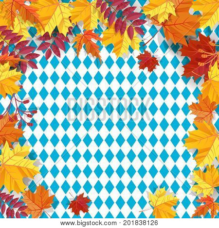 Autumn leaves frame background pattern of blue diamonds. Traditional fall Oktoberfest background. National German autumn beer festival design.Cartoon flat style vector illustration