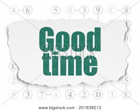 Time concept: Painted green text Good Time on Torn Paper background with Scheme Of Hexadecimal Code