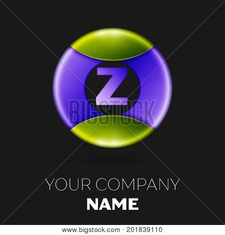 Realistic Letter Z vector logo symbol in the colorful circle on black background. Vector template for your design