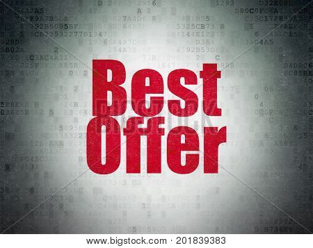 Marketing concept: Painted red word Best Offer on Digital Data Paper background
