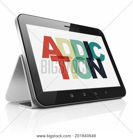 Healthcare concept: Tablet Computer with Painted multicolor text Addiction on display, 3D rendering