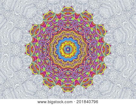 Bright abstract background with half-painted outline concentric pattern
