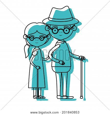 blue watercolor silhouette of full body elderly couple in walking stick grandmother side ponytail hairstyle in dress and grandfather with hat and glasses vector illustration