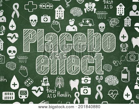Health concept: Chalk White text Placebo Effect on School board background with  Hand Drawn Medicine Icons, School Board