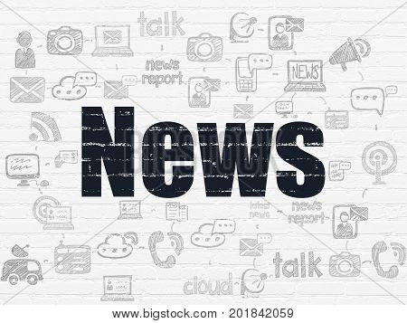 News concept: Painted black text News on White Brick wall background with Scheme Of Hand Drawn News Icons