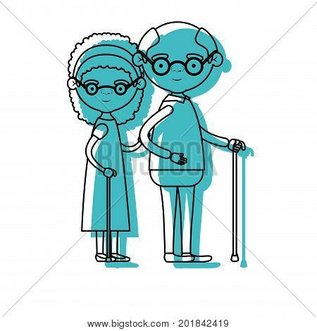 blue watercolor silhouette of full body couple elderly of grandmother with curly hair in dress and bald grandfather with glasses in walking stick vector illustration