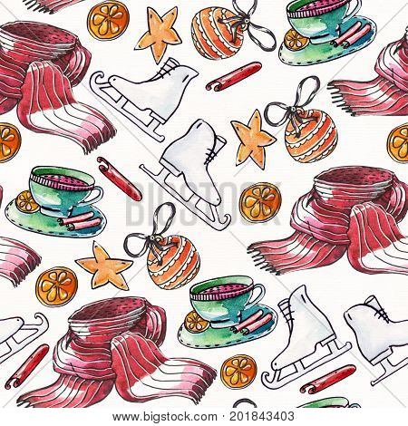 Grainy raster illustration with christmas seamless pattern drawn with watercolor and brush on white textured paper. Skates christmas balls warm scarf cup with cinnamon and citrus